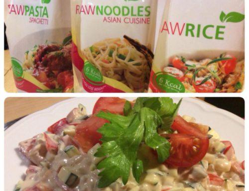 Raw krémové rizoto s ryžou z rastliny konjac.
